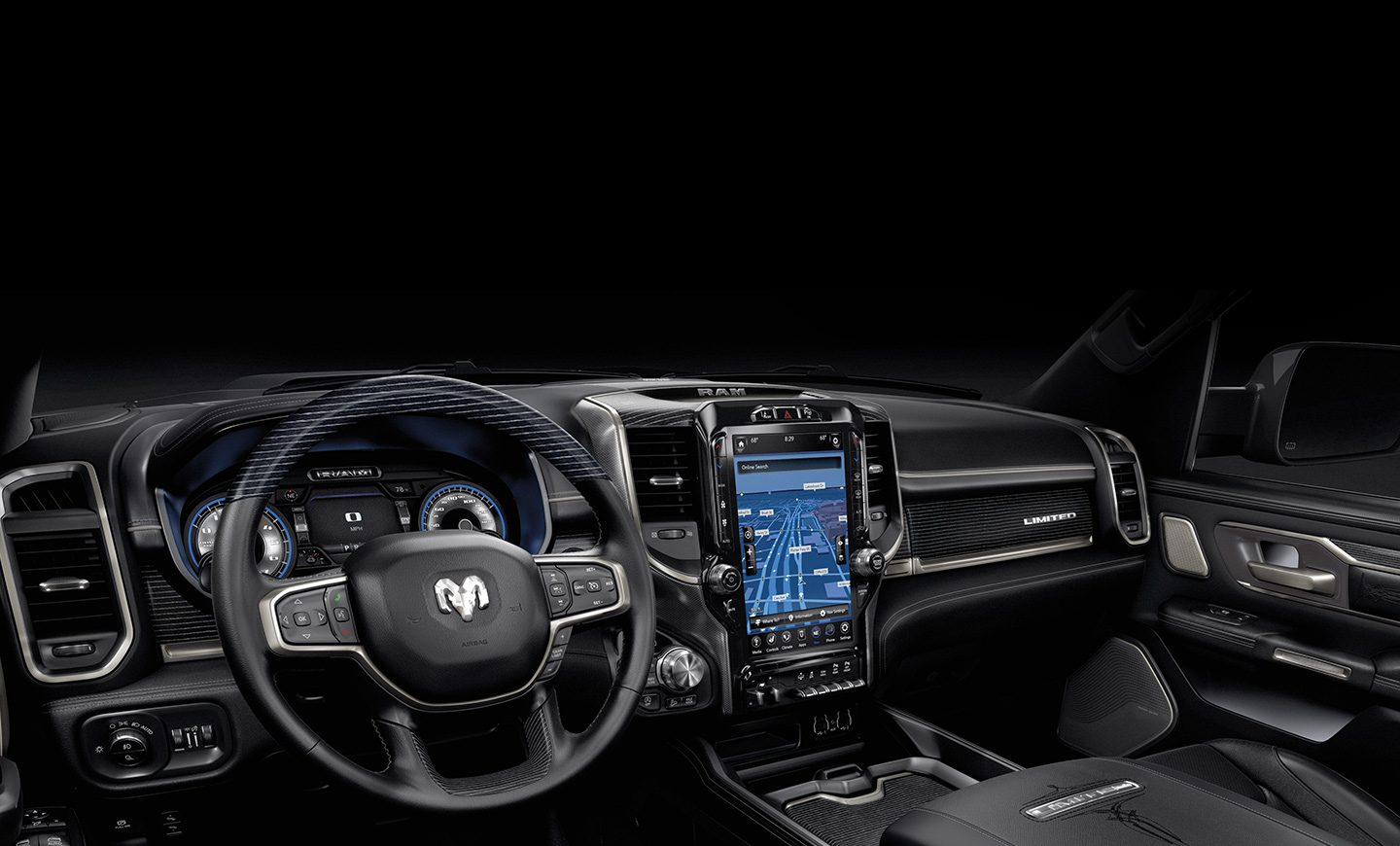 An interior view of the 2020 Ram 1500 focusing on the steering wheel and available 12-inch Uconnect 12.0 touchscreen.